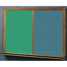 210 Series Wood Frame Combo Chalkboard and Tackboard - Designer Fabric - 48