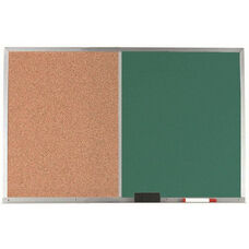 Aluminum Frame Combination Board with Natural Pebble Grain Cork Bulletin Board and Green Chalkboard