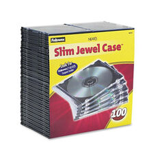 Fellowes® Slim Jewel Case - Clear/Black - 100/Pack