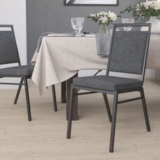 HERCULES Series Square Back Stacking Banquet Chair in Dark Gray Fabric with Silvervein Frame