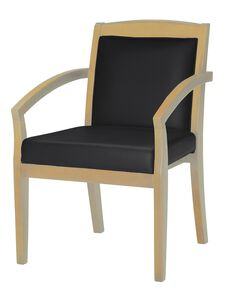 Mercado Solid Back Guest Chair - Set of 2 - Black Leather with Maple Finish