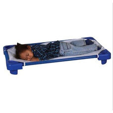 Blue Ready to Assemble Toddler Stackable Kiddie Cots with Sheets - 23