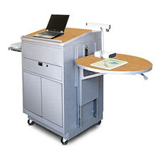 Vizion Sit Stand Mobile Teaching Center with Steel Doors and Lectern - Silver Powdercoat Paint and Oak Laminatee