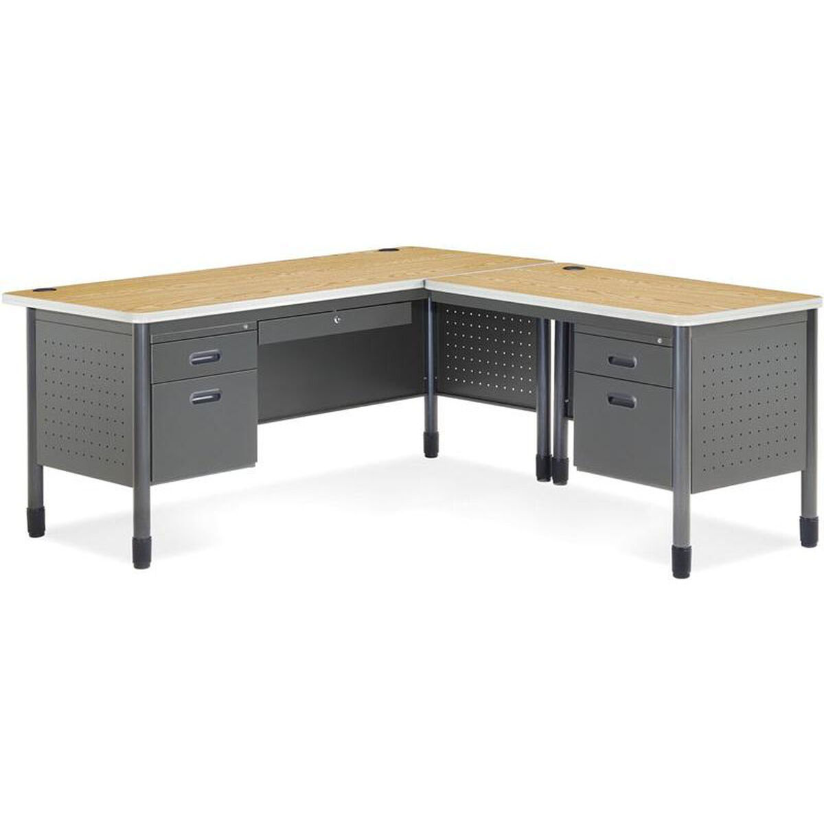 Our Mesa L Shaped Desk With Right Pedestal Return Oak Is On Now
