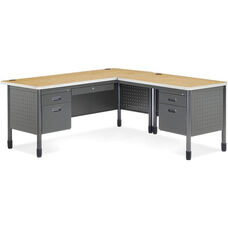 Mesa L-Shaped Desk with Right Pedestal Return - Oak