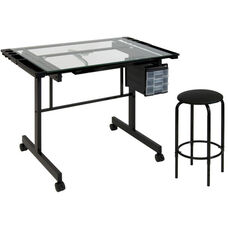 Vision Tempered Glass and Steel Craft Center with Adjustable Angle Top Desk and Padded Stool - Black