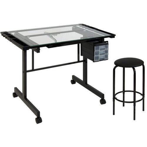 Our Vision Tempered Glass and Steel Craft Center with Adjustable Angle Top Desk and Padded Stool - Black is on sale now.