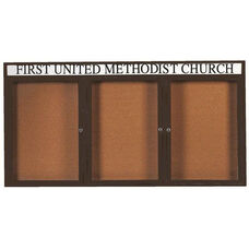 3 Door Indoor Illuminated Enclosed Bulletin Board with Header and Bronze Anodized Aluminum Frame - 36