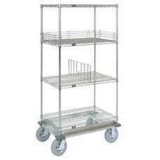 Wire Shelf Dolly Truck W/Rubber 2 Braking Wheels - 24