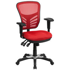 Mid-Back Red Mesh Multifunction Executive Swivel Chair with Adjustable Arms