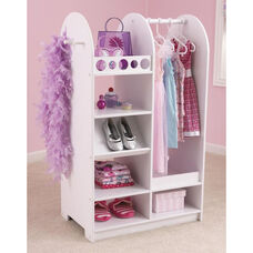 Kids Size Play Dress Up Fashion Station with Mirror and Storage Options - White