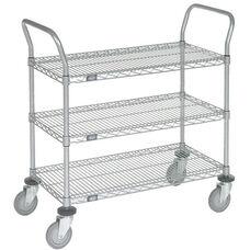 Chrome 3 Shelf Utility Cart--Polyurethane Caster - 24