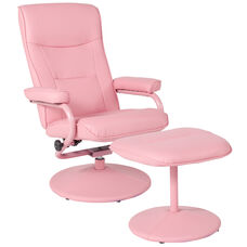 Chelsea Contemporary Multi-Position Recliner and Ottoman in Pink Vinyl