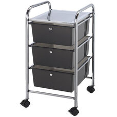 3 Drawer Chrome Frame Storage Cart - Smoke