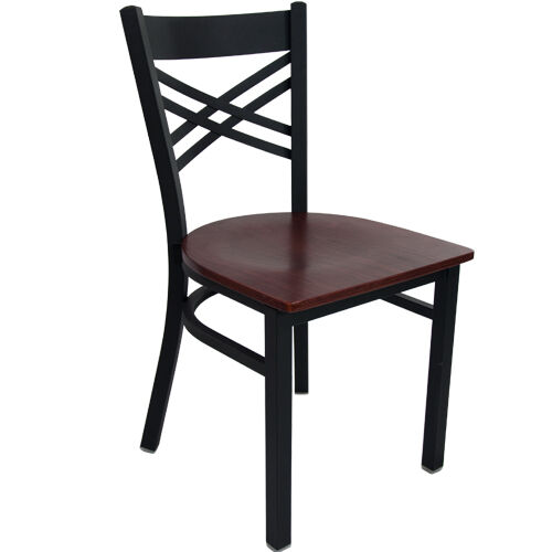 Advantage Black Metal Cross Back Chair - Mahogany Wood Seat