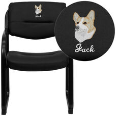 Embroidered Black LeatherSoft Executive Side Reception Chair with Sled Base