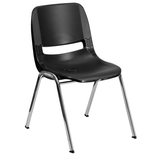 Our HERCULES Series 440 lb. Capacity Black Ergonomic Shell Stack Chair with Chrome Frame and 12