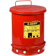 10 Gallon Steel Foot-Operated Oily Waste Can - Red