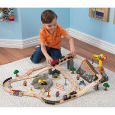 Kids Construction Train Play Set and Storage Bucket Includes 61 Pieces