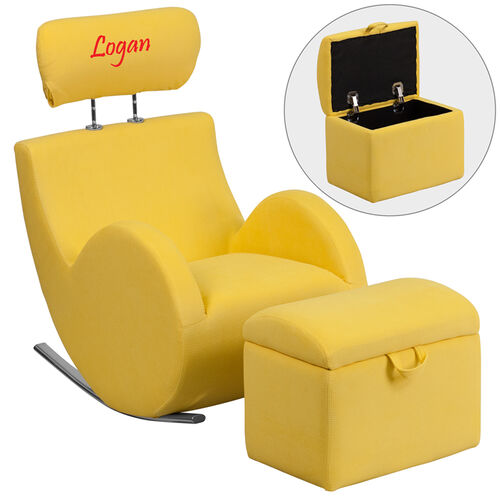 Our Personalized HERCULES Series Yellow Fabric Rocking Chair with Storage Ottoman is on sale now.