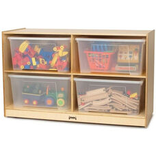 Jumbo Wooden 2 Shelf Storage Unit with 4 Clear Plastic Totes and Lids - 48