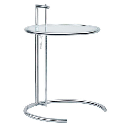 Eileen Adjustable Height Steel and Glass End Table