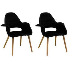 Morza Chair with Wood Legs and Black Seat - Set of 2