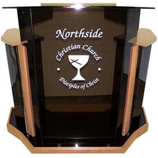 Deluxe Smoke Acrylic Non-Sound Lectern with Clear Rubber Feet - Oak Finish - 54