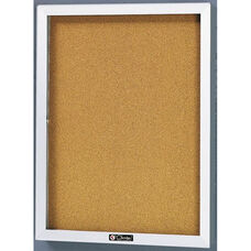 2300 Series Tan Nucork Bulletin Board Cabinet with Tempered Glass Locking Door - 24