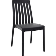 Soho Modern Outdoor Resin Stackable High Back Dining Chair - Black