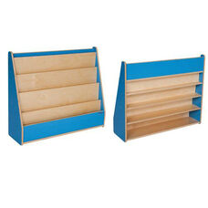Blueberry Book Display Stand with Five Sloping Hardboard Shelves on Front and Four Shelves on Rear - Assembled - 34