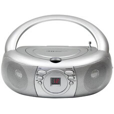 Silver Pushbutton Designed Boombox with Top Loading CD Player and AM/FM Radio Tuner - 9