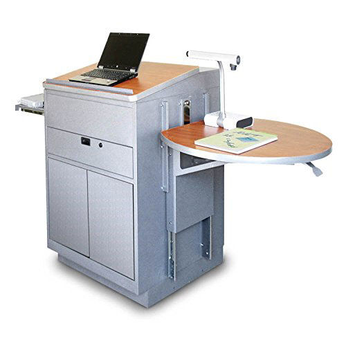 Our Vizion Collabritive Stationary Teachering Center Lectern with Steel Doors - Silver Powdercoat Paint and Cherry Laminate is on sale now.