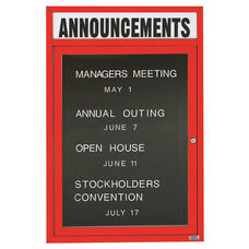 1 Door Outdoor Enclosed Directory Board with Header and Red Anodized Aluminum Frame - 48