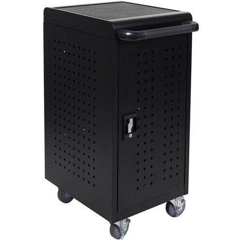 Locking Steel 24 Tablet Compact Charging Cart - Black - 20.5