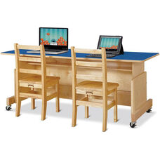 Apollo Computer Desks - Double Desk/Blue Top