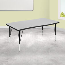 """28""""W x 47.5""""L Rectangular Wave Collaborative Grey Thermal Laminate Activity Table - Height Adjustable Short Legs"""