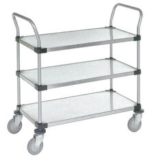 Stainless Steel 3 Shelf Solid Shelf Cart - 24