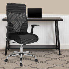 Milford High Back Ergonomic Office Chair with Contemporary Mesh Design in Black and White