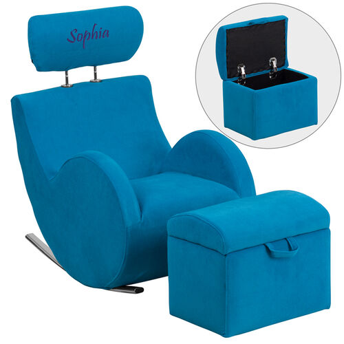 Our Personalized HERCULES Series Turquoise Blue Fabric Rocking Chair with Storage Ottoman is on sale now.