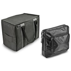 Self Standing Mini File Tote with Adjustable Dividers and One Tablet Case - Black and Gray
