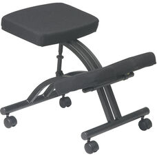 Work Smart Ergonomically Designed Knee Chair with Casters andMemory Foam - Black