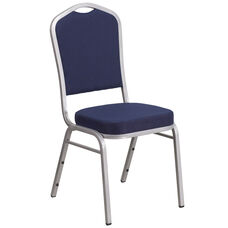 HERCULES Series Crown Back Stacking Banquet Chair in Navy Fabric - Silver Frame
