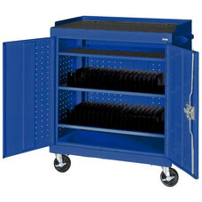 36'' W x 24'' D x 43'' H Mobile Tablet Storage Cart with Casters - Blue