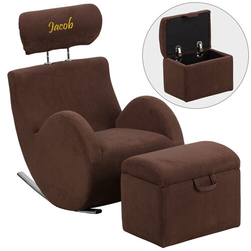 Our Personalized HERCULES Series Brown Fabric Rocking Chair with Storage Ottoman is on sale now.