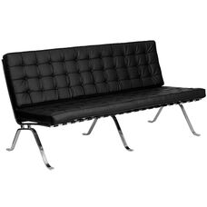 HERCULES Flash Series Black LeatherSoft Sofa with Curved Legs