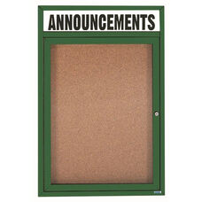 1 Door Indoor Enclosed Bulletin Board with Header and Green Powder Coated Aluminum Frame - 36