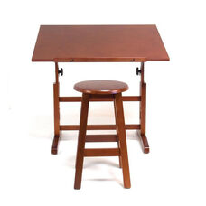 Height Adjustable Solid Wood Creative Table with Matching Stool - Walnut