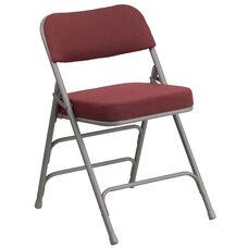 HERCULES Series Premium Curved Triple Braced & Double Hinged Burgundy Fabric Metal Folding Chair