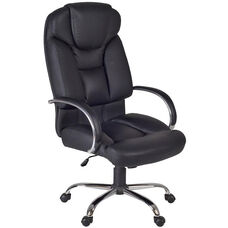 Goliath Height Adjustable Big and Tall Swivel Chair with Casters - Black Leather